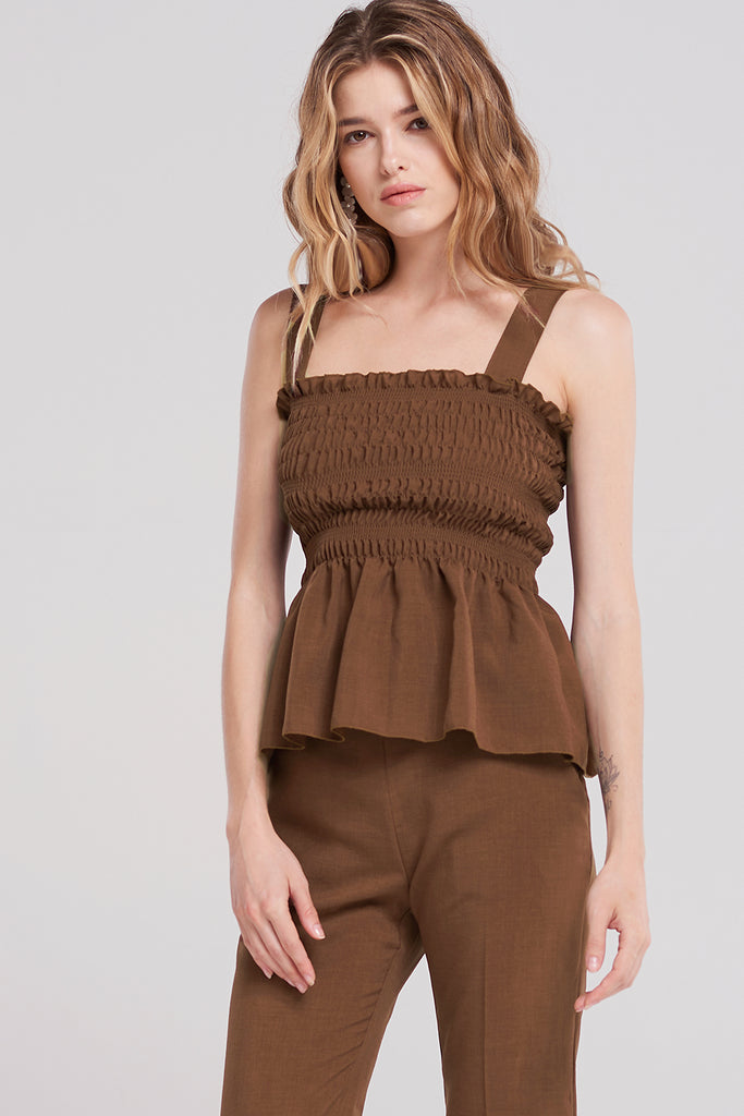Jaycee Bust-shirred Strap Top-Brown