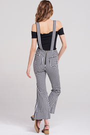 Gina Gingham Check Overalls-Black