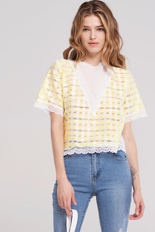 Kyle Back Zip Houndstooth Blouse-Yellow