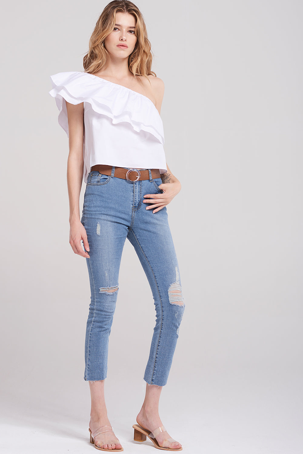 Hana Ripped Denim Pants-Blue