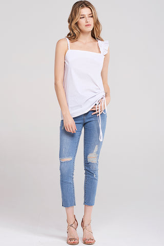 Nancy Unbalanced Shoulder Strap Top-Ivory