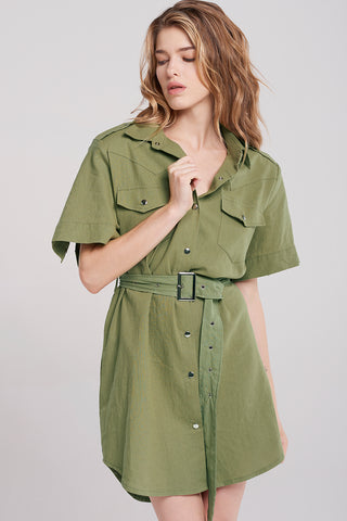 Nola Silver Button Army Dress-Olive