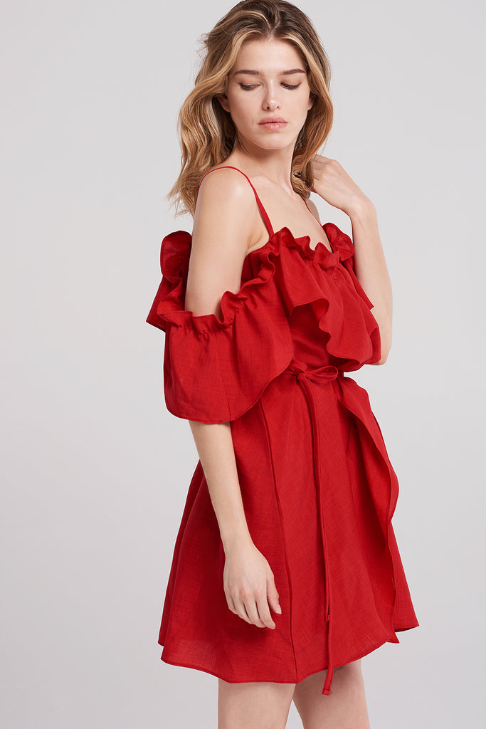 Foster Ruffle Strappy Dress-Red