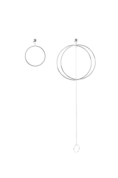 Unbalanced Silver Circle Earrings