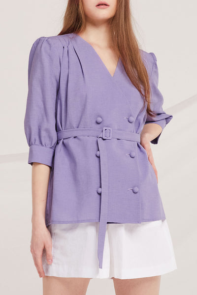 Haylee Double Breast Belted Blouse