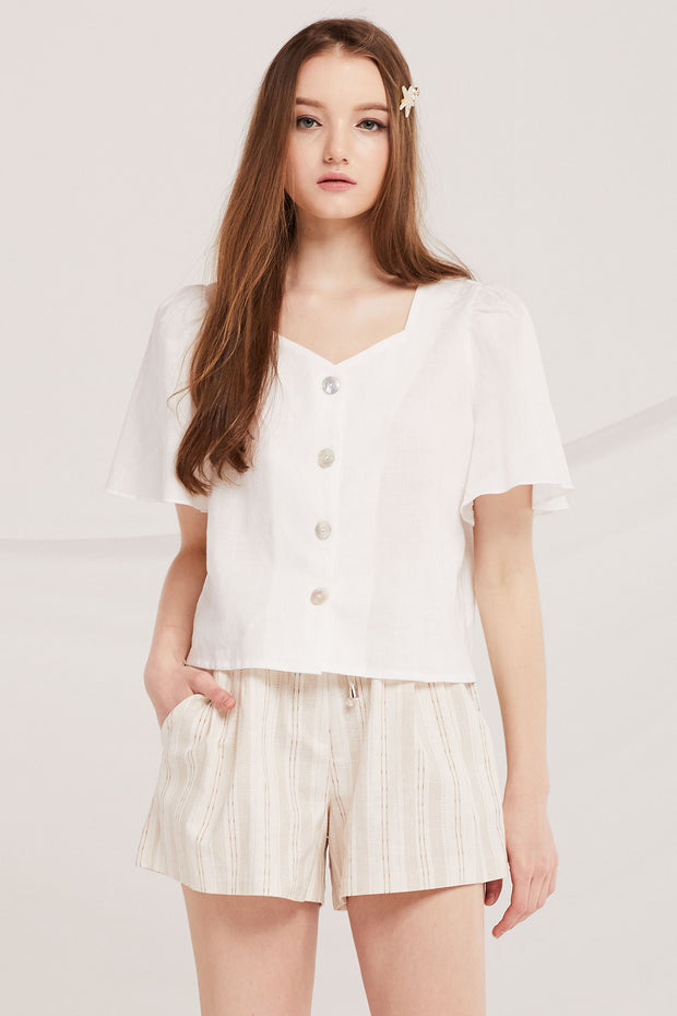 Rory Linen Crop Blouse