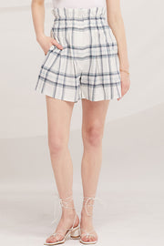 Elliot Paperbag Waist Plaid Shorts