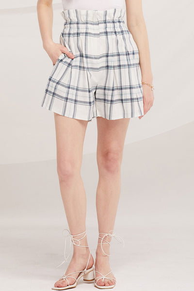 storets.com Elliot Paperbag Waist Plaid Shorts