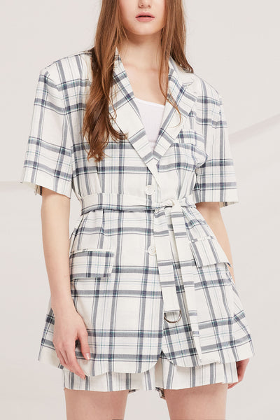 storets.com Elliot Belted Plaid Jacket