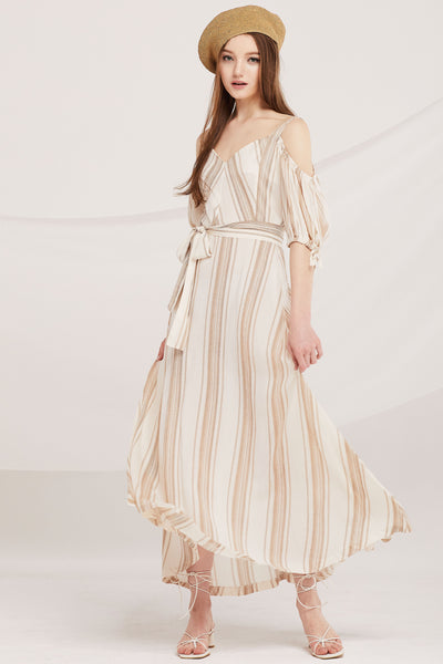 Amani Stripe Cold Shoulder Dress