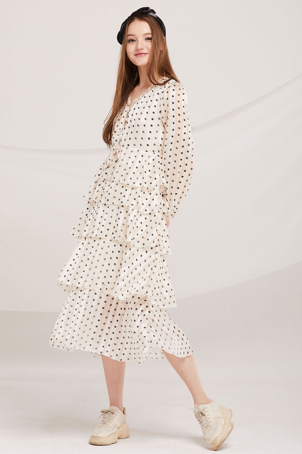 storets.com Aisha Polka Dot Tiered Ruffle Dress