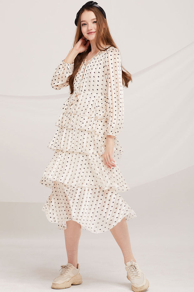 Aisha Polka Dot Tiered Ruffle Dress