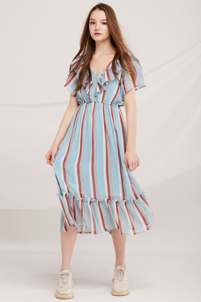 Simone Striped Ruffle Dress