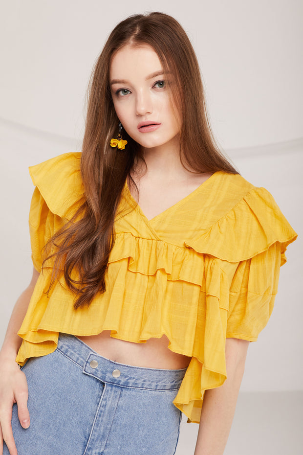 Legacy Tiered Ruffle Crop Blouse