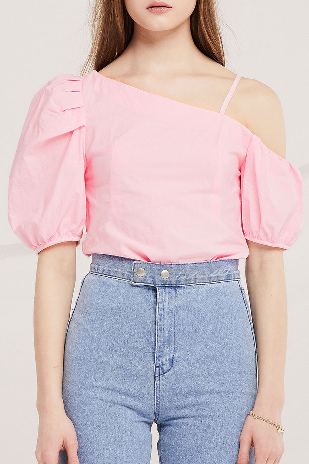 Kora Asymmetric Puff Sleeve Top