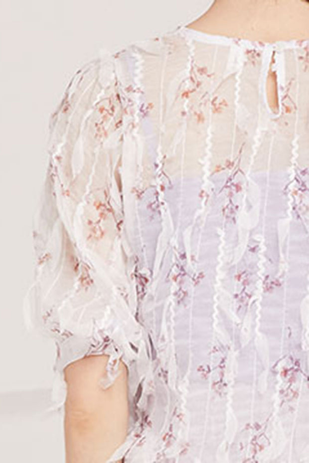 Sandra Sheer Fringe Blouse