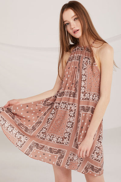 Ansley Boho Print Halter Dress