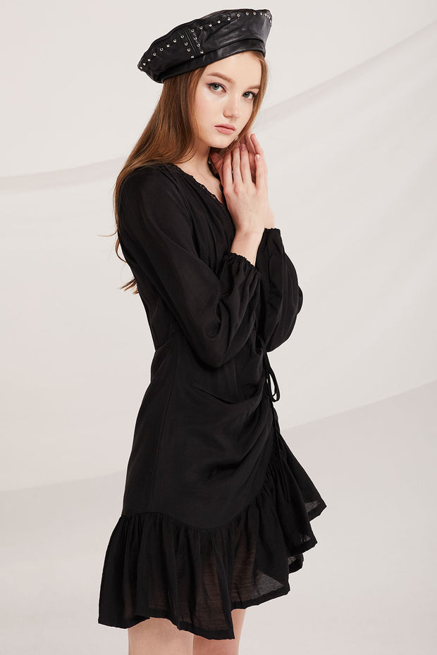storets.com Colette Lace Trim Shirring Dress