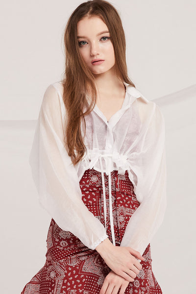 Abril See-Thru Crop Shirt