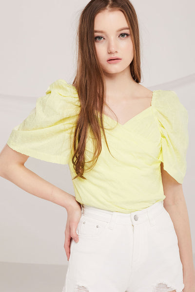 Esme Pompom Textured Wrap Top