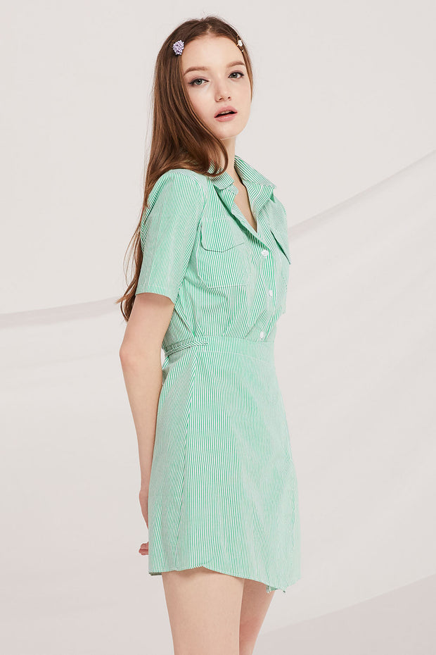 storets.com Julie Pinstripe Shirt Wrap Dress