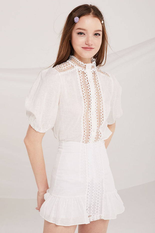 Kimber Crochet Panel Blouse