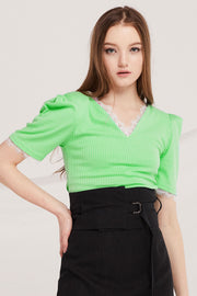 Anne Lace Trim Ribbed Top