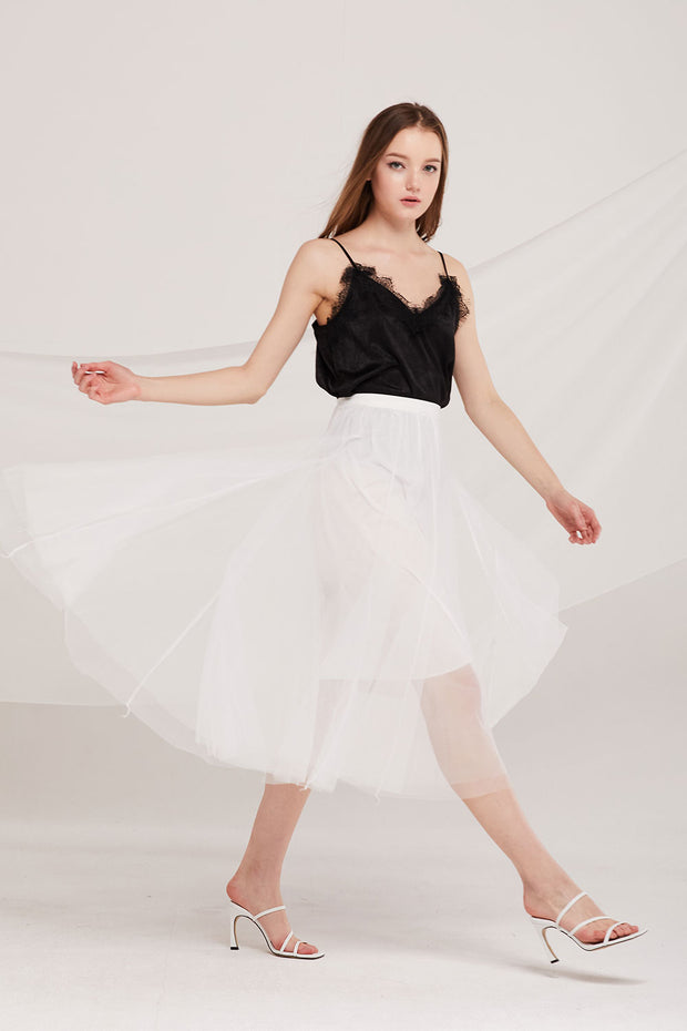 storets.com Dalary Pleated Tulle Skirt