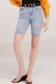 Miya Denim Cycling Shorts w/Belt