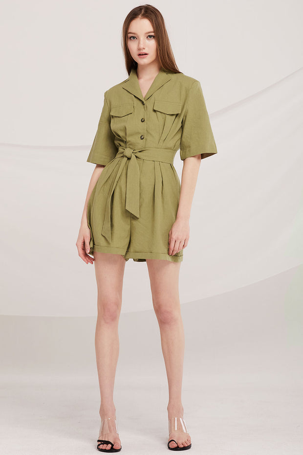 Danna Shirt Playsuit w/Belt