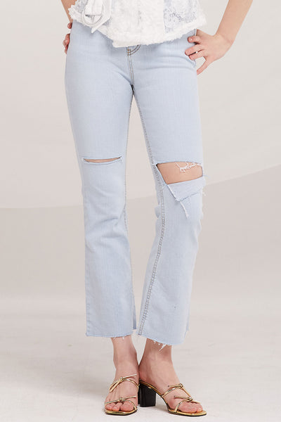 Simone Slash Ripped Bootcut Jeans