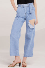 Louisa Belted Slash Ripped Jeans