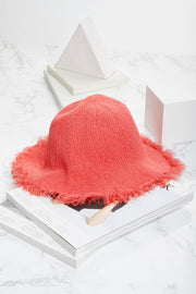 storets.com Raw Edge Straw Bucket Hat
