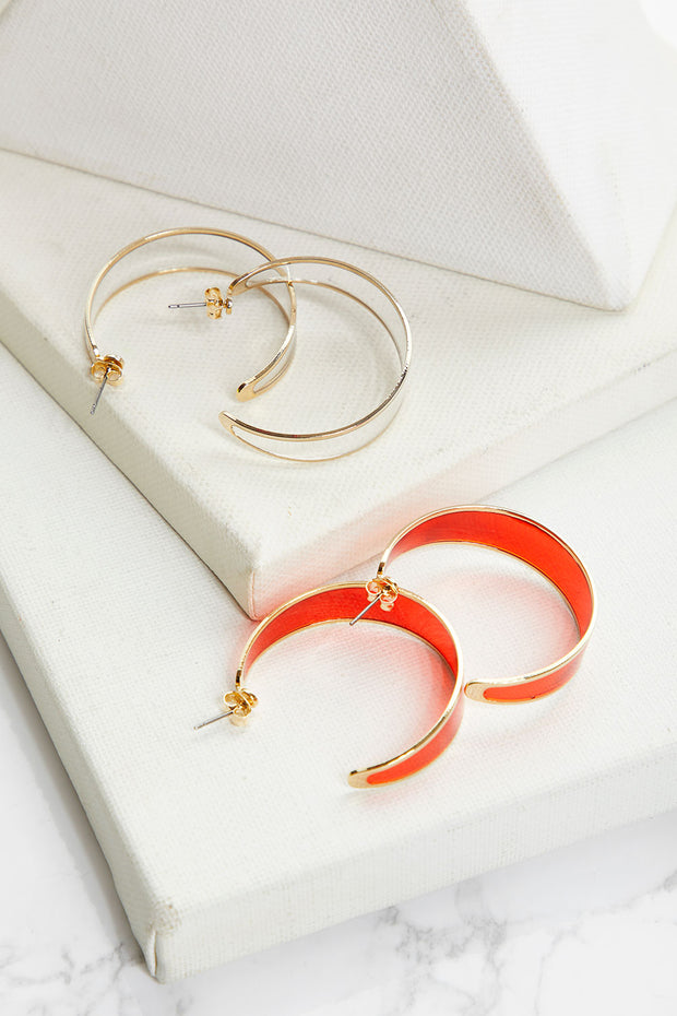 Clear Hoop Earrings w/Gold Trim