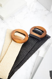 Neutral Banded Belt w/ Wooden Buckle