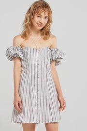 storets.com Ariyah Buttoned Stripe Off Dress-Brown