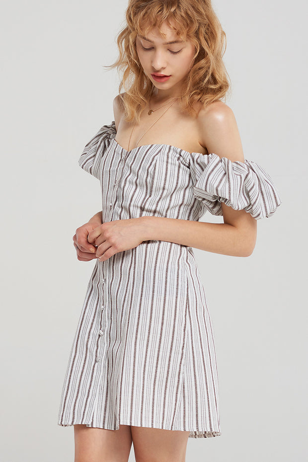 Ariyah Buttoned Stripe Off Dress-Brown