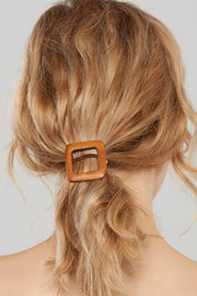 Sqaure Wood Hair Tie-Brown