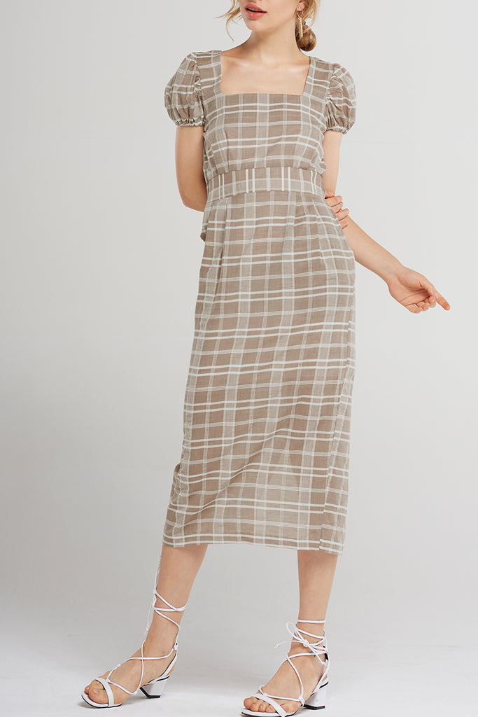 May Soft Check Tea Dress-Beige
