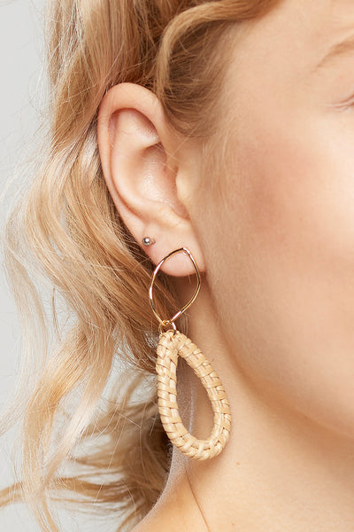 Waterdrop Rattan Earrings-Beige