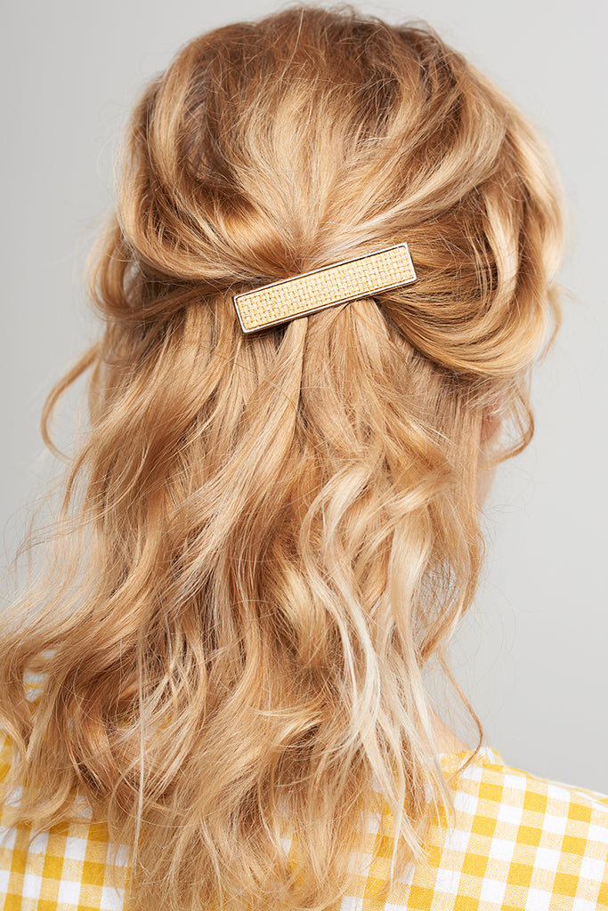 Woven Straw Hair Clip-Gold