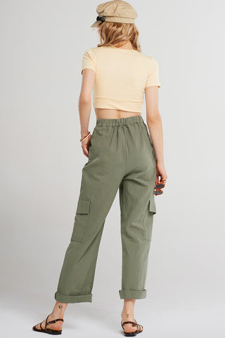 Basic Hem Twist Cropped T-shirt-Beige