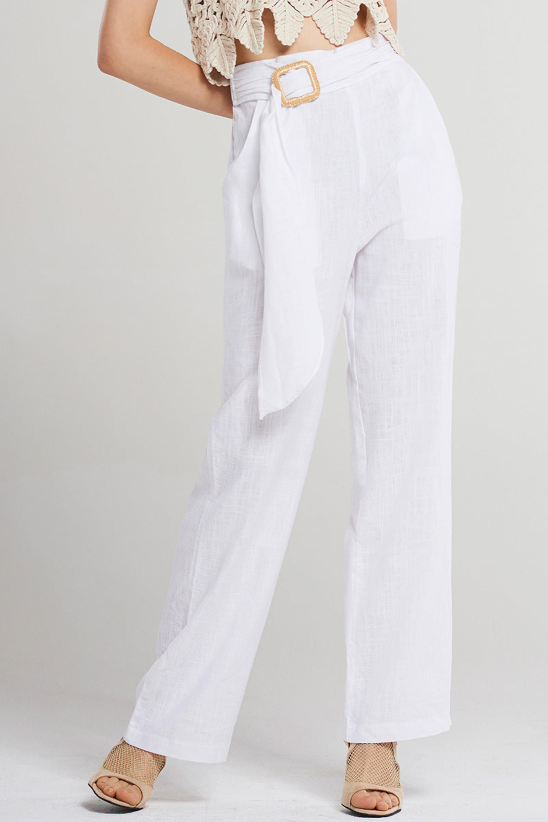 Mabel Bamboo-buckle Linen Pants-Ivory
