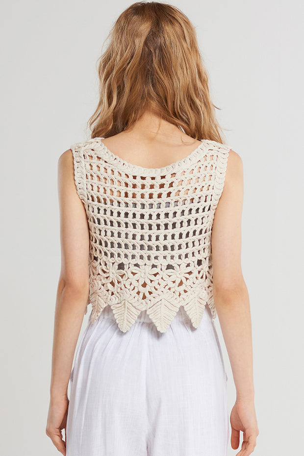 Pipa Crochet Crop Top-Beige