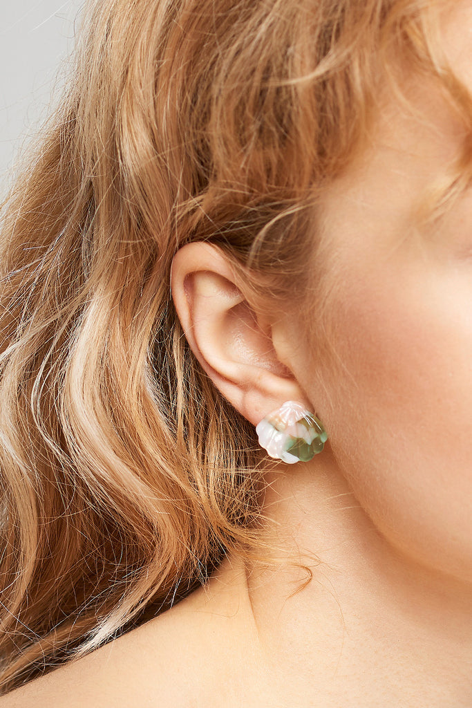 Shell Stud Earrings-Green