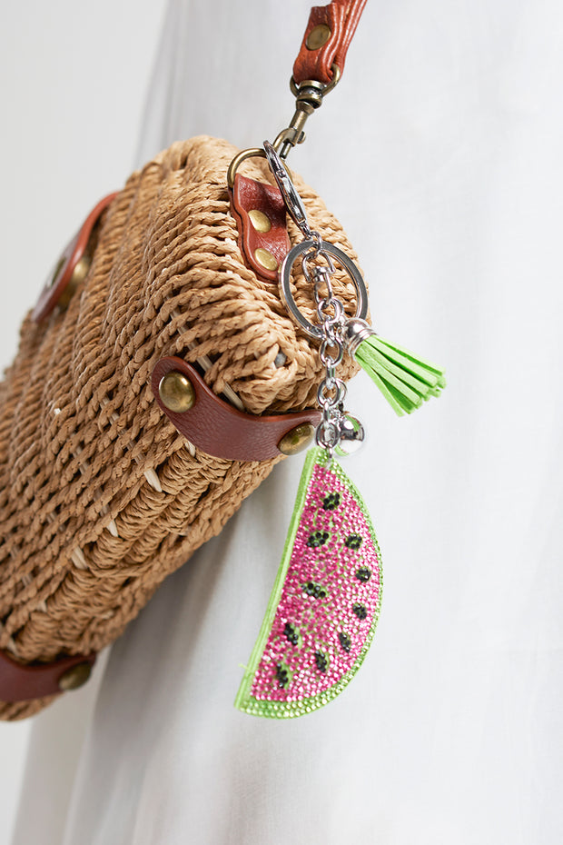 Glitter Watermelon Key Chain-Pink