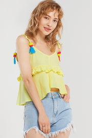 storets.com Briana Pompom Point Strap Blouse-Yellow