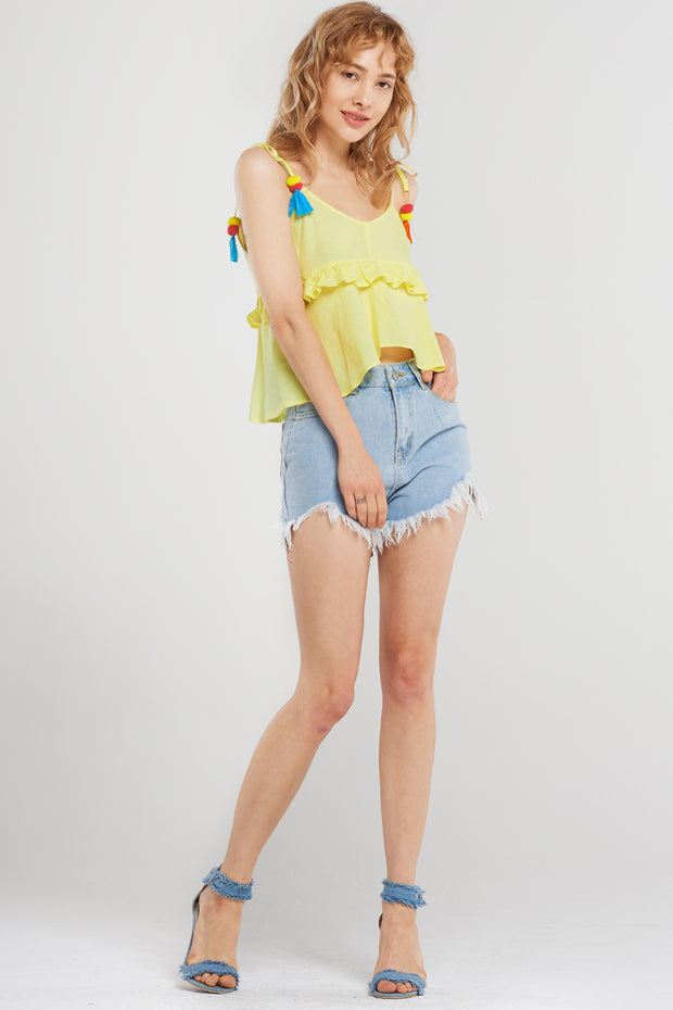 Allyson Monster-fray Denim Shorts-Blue