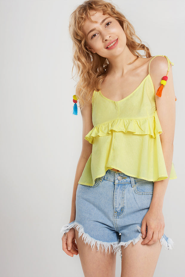 Briana Pompom Point Strap Blouse-Yellow