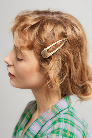 Brushed Metal Hair Clip-Gold